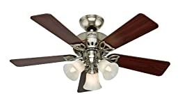 Hunter 53079 The Beacon Hill 42-inch Brushed Nickel Ceiling Fan with Five Cherry/Maple Blades and Light Kit