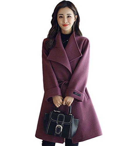 YAANCUN Parka Chaqueta Casual Lana Diseño Mujer Abrigo Simple Invierno Morado De zwxrzqY6