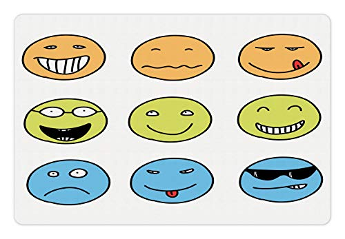 Lunarable Mood Pet Mat for Food and Water, Doodle Emotion Expressions Emoji Faces Happy Sad, Rectangle Non-Slip Rubber Mat for Dogs and Cats, Pale Orange Pale Avocado Green Sky Blue White