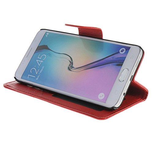 MEIRISHUN Caja del Teléfono Celular Caso Funda ,Tapa abierta Protector Case,Lujo PU Cuero Folio Wallet Case Flip Cover with ranuras para tarjetas para Samsung Galaxy S6 edge+ [Blanco] Rojo