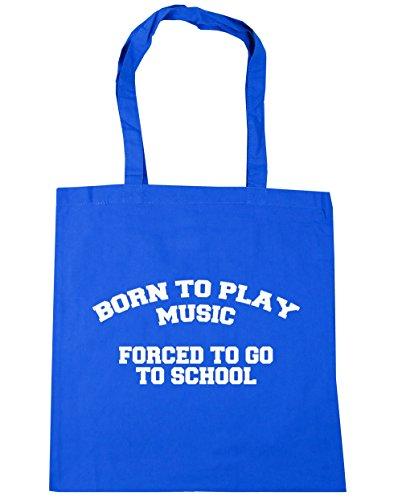 HippoWarehouse Born to Play música obligado a ir a la escuela bolso de compras bolsa de playa 42cm x38cm, 10litros Azul Aciano
