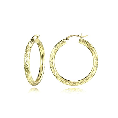 14K Gold Diamond-Cut 4mm Lightweight Medium Round Hoop Earrings, 32mm by Hoops & Loops