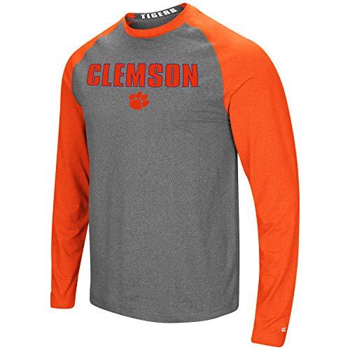 Colosseum Men's NCAA-Buzzer Beater- Long Sleeve Raglan T-Shirt-Clemson Tigers-Heathered Orange/Heathered Charcoal-XXL from Colosseum