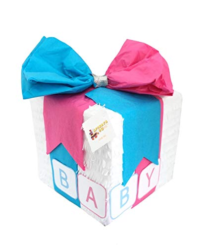 APINATA4U BABY Gender Reveal Pinata Gift Box Style with Pull Strings -