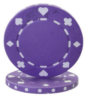 Purple Poker Chip - Brybelly Suited Poker Chips (50-Piece), Purple, 11.5gm