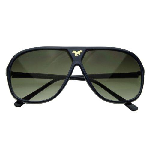 zeroUV - Large Retro Stunner Plastic Aviator Sunglasses w/ Mustang Horse Logo (Dark - Stunners Sunglasses