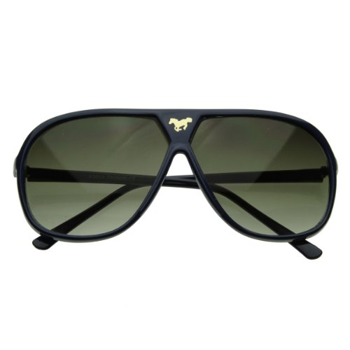 zeroUV - Large Retro Stunner Plastic Aviator Sunglasses w/ Mustang Horse Logo (Dark - Horse Sunglasses