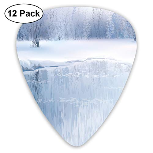 Guitar Picks - Abstract Art Colorful Designs,ICY River With Barren Snowy Forest Digital Artwork Frost Cold Weather Winter Season,Unique Guitar Gift,For Bass Electric & Acoustic Guitars-12 Pack