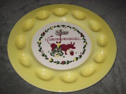 Vintage Brock California Pottery Large 13 Inch Deviled Egg / Relish Serving Dish - Girl Milking Cow Pattern