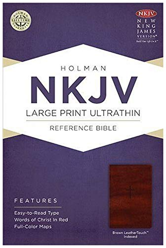 Come On Style Shop NKJV Large Print Ultra Thin Reference Bible Easy to Read Thumb Index Brown Leather