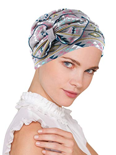Chemo Summer Hat Ribbed Flower Bow Cloche Beanie Cancer Cap Tribal Navajo -