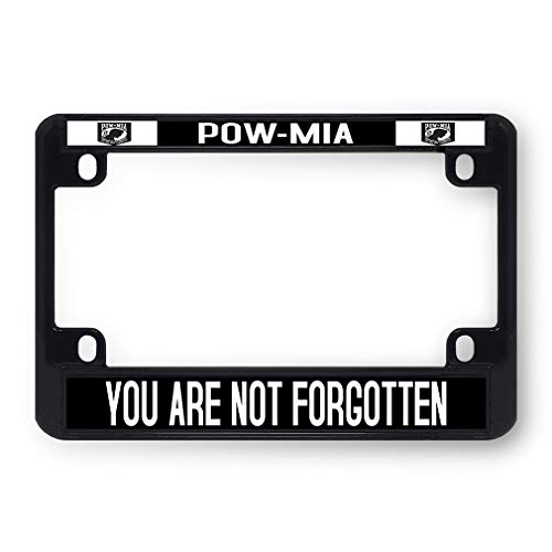 Sign Destination Metal Bike License Plate Frame Pow-Mia You are Not Forgotten Plate Motorcycle Tag Holder Black 4 Holes One ()