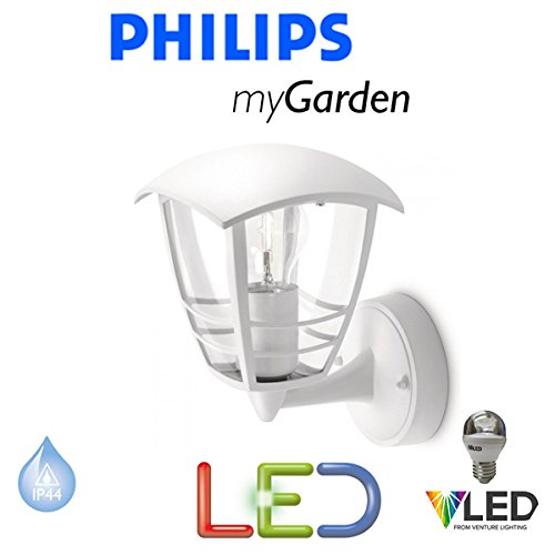 PHILIPS MY GARDEN CREEK LED 5.9 WATT WALL UP WHITE OUTSIDE LANTERN LIGHT NEW