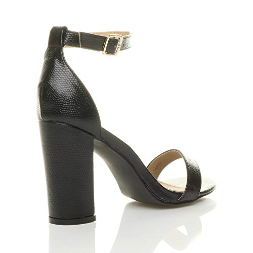 Black Block Sandals Size Strappy High Lizard Ajvani Heel Women Pqaxw0