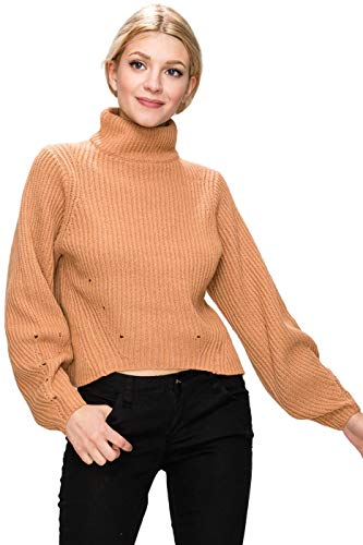 BodiLove Women's Turtle Neck Balloon Sleeve Sweater Top Apricot M(LUX11260)