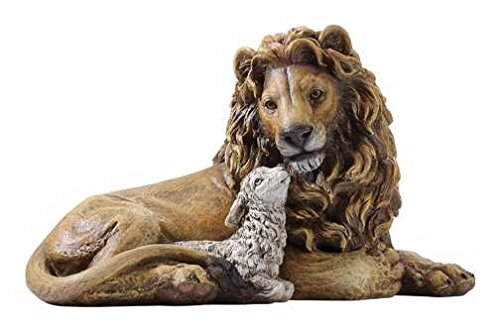 Lion and Lamb Laying Together Religious Christmas Figurine (Statues Outdoor Lion Resin)