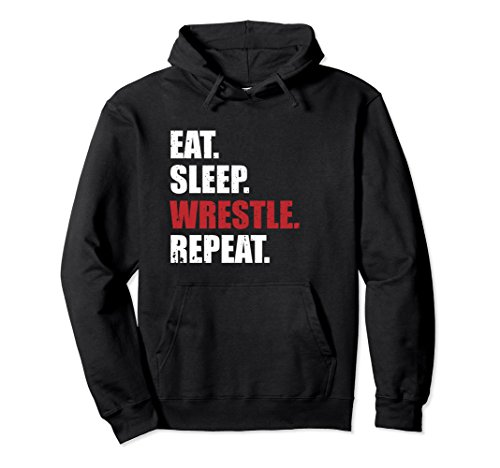 Unisex Eat Sleep Wrestle Repeat Hoodie Medium Black by Eat Sleep Repeat Life