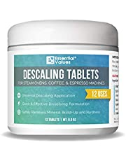 Descaling Tablets (12 Count/Up to 12 Uses) for Jura, Miele, Bosch, Tassimo Espresso Machines and Miele Steam Ovens by Essential Values (1 Pack)