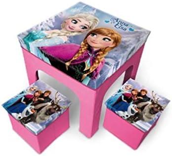 Frozen - Juego de Mesa y 2 taburetes, diseño de Frozen Elsa, Anna, Olaf y Kristoff: Amazon.es: Hogar