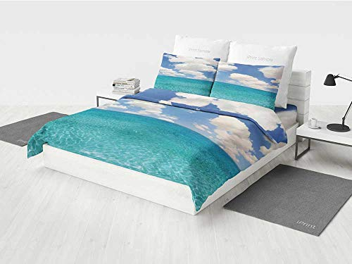 KaithLong Ocean Kids Bedding Set Dreamy Skyline with Clouds Over Crystal Water Sea Coast Tropical Island Image Printing Four Pieces of Bedding Set Turquoise Aqua -
