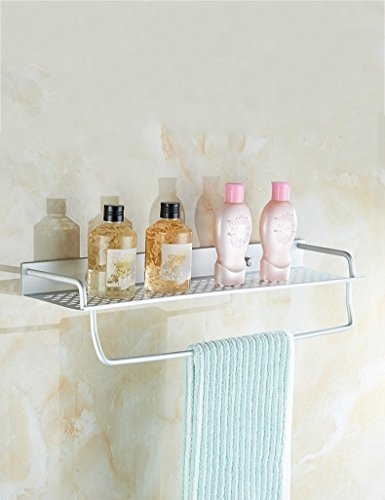 Wall Mounted Basin Stand - DIDIDD Shelf-Extremely Firm Shower Shelf Space Aluminum Bathroom Racks Single Layer Tray Wall-Mounted Mirror Before the Cosmetics Frame Kitchen Condiment Stand Ensuring Quality,39Cm,A
