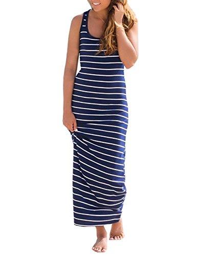 Tempo Smanicato Estivi Blu Elegante Collo Stripe Hippie Lungo Vestiti  Vacanza Libero Fashionable Adelina Lunghi Mare Donna ... e8ce86cb648