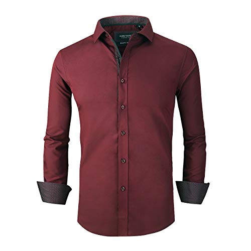 Alex Vando Mens Dress Shirts Wrinkle Free Slim Fit Long Sleeve Men Shirt,Burgundy,S