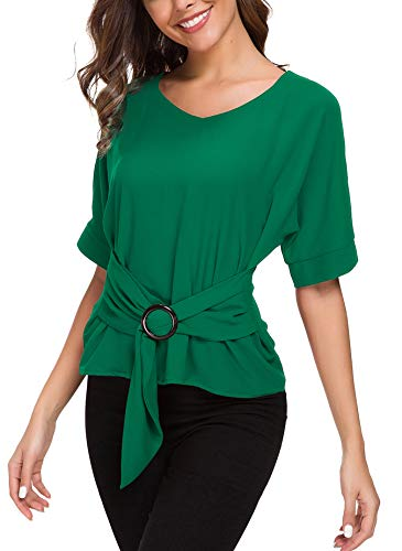 ACONIYA Womens Tie Knot Casual Belted Blouse Elegant Long/Short Sleeve Shirt Work Tunic Tops (Green 2, XL)