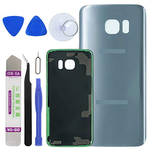 LUVSS [Extra Adhesive Back Glass Replacement for Samsung Galaxy S7 Edge G935 (All Carriers) Rear Cover Glass Panel Case Housing with Opening Tools Kit (Silver)
