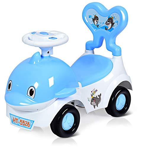 BABY JOY Baby 3-in-1 Ride-on Low-seat Car Toy, Walker & Sliding Car, Cartoon Design Pushing Cart with Sound & Light, Safe Brake, Anti-Falling Backrest, Storage Seat (Blue)