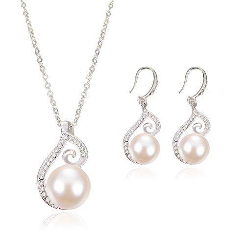 Bracelet Pearl Of Mother Vintage (JAGENIE Women Jewelry Set Faux Pearl Rhinestone Vintage Pendant Necklace Hook Earrings)