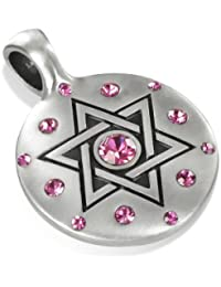 Golda, Special Jewish Pendant, Swarovski Crystal, Including a Black Choker