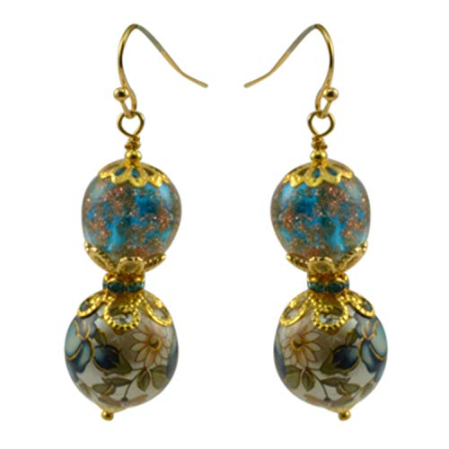 Just Give Me Jewels Genuine Venice Murano Glass Bead with Gold Plated Bead and Japanease Floral Tensa Bead Dangle Earrings