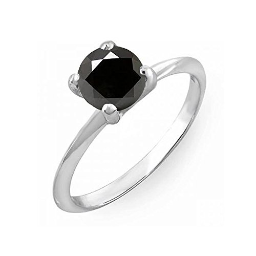 Dazzlingrock Collection 0.50 Carat (ctw) Sterling Silver Black Diamond Bridal Engagement Solitaire Ring 1/2 CT, Size 5.5 ()