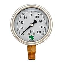 Zenport LPG160 Zen-Tek Glycerin Liquid Filled Pressure Gauge, 160 Psi
