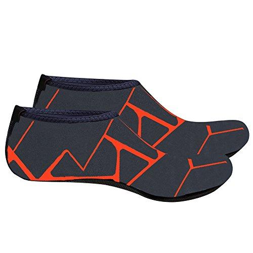 Natation Unisexe Peau pour Exercice Yoga Barefoot Merssavo Surf Plage Peau Chaussures Orange 2XL de de Impression Aqua Chaussures Chaussures la fqpc4dPw
