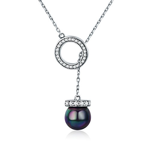 Vogzone Created Black Pearl Pendant Y Necklace for Women 925 Sterling Silver CZ Fashion Necklace for Her