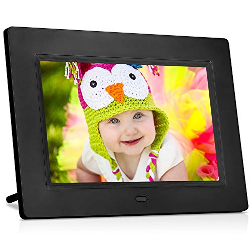 MRQ 7 Inch Digital Photo Frame Full HD IPS Display 180° View Angle Electronic Picture Video Player with MP3, E-Book, Calendar, Alarm, Remote Control, Support External USB and SD Card