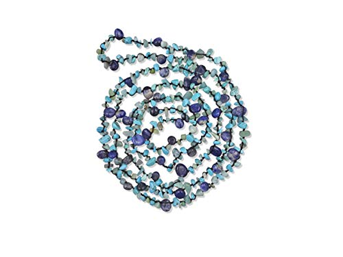 MGR MY GEMS ROCK! Beaded Sodalite Mix Stone Endless Infinity Long or Multi Layered Boho Statement Necklace, 60