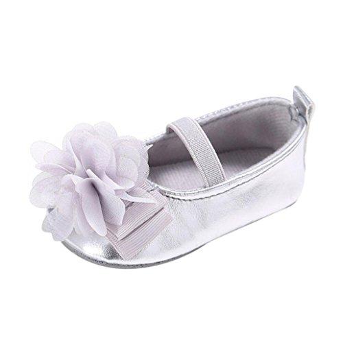 zapatos niña, Switch Recién nacido Bebé ninas Prewalker Zapatos primeros pasos, floral princesa Zapatos verano moda Al aire libre sandalias de niña fiestaf con Suela blanda Plata
