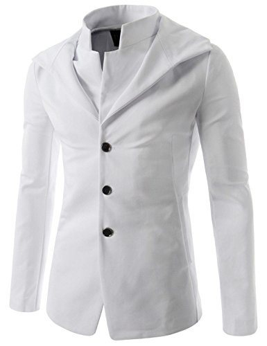 (NJK151) Mens Slim Fit Hooded Blazer Stylish Double Collar Sports Coat Jacket WHITE US XS(Tag size L) by TheLees