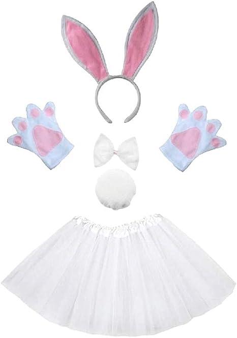 Lote disfraz de conejito conejo blanco - niña - tutú - diadema ...