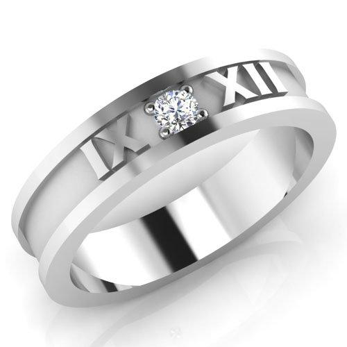 0,08 Ct redonda natural diamond anillos de boda para hombre 14 K oro blanco