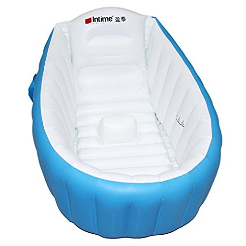 Inflatable Baby Bathtub, Kid Infant Toddler Infant Newborn Inflatable Foldable Shower Pool (Blue) by SuperLi