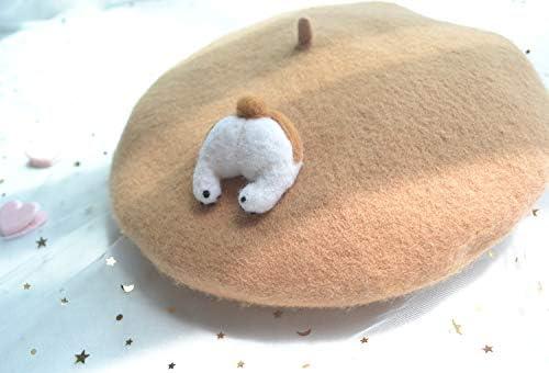 HTFGNC Women Cute Corgi Butt Beret Hat Soft Wool Cap Winter Warm Beret Cap Khaki