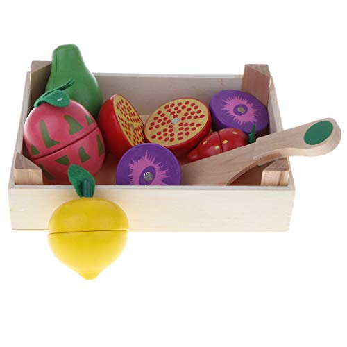 (Flameer 8 Pieces Wooden Magnetic Cutting Fruits Play Food Set, Strawberry, Lemon, Plum, Pomegranate and Tray for Kids Children )