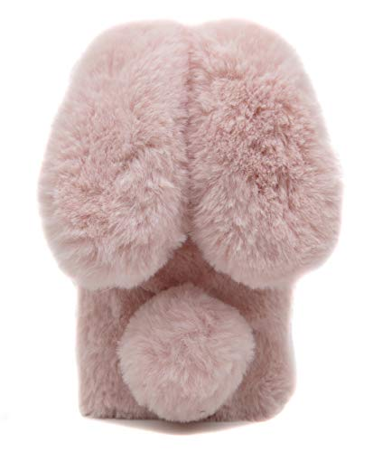 Furry Case Ears iPhone 7 Plus Rose Pink, Fluffy Rabbit Case iPhone 8 Plus, Fashion Pom Pom Faux Furry Bunny Case iPhone 7 Plus & iPhone 8 Plus Soft Hairy ()