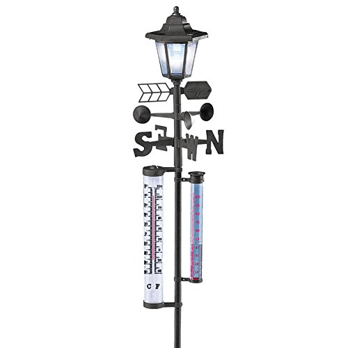 Solar Powered Weather Station Lantern Metal Yard Stake with Wind Direction Arrow, Rain Gauge, and Thermometer, ()