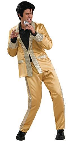 Mens Elvis Costume (Elvis Deluxe Gold Costume, Gold,)