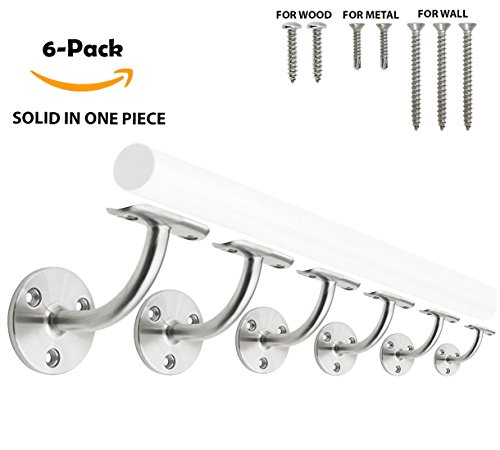 Stainless Steel 316 [Marine Grade] Wall Mount Handrail Bracket for Wood & Metal Stair Railing, Support 2'' OD Round Tubing, 6-Pack by Top Hardware